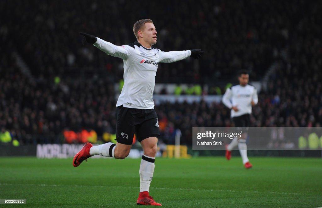 Matej Vydra Of Derby County Celebrates After Scoring A