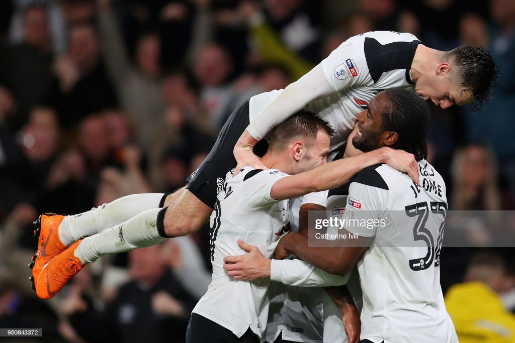 Matej Vydra Of Derby County Celebrates After Scoring His