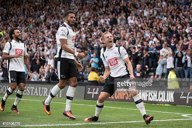 Matej Vydra of Derby County celebrates after scoring the first goal during the Sky Bet Championship match between Derby County and Blackburn Rovers...
