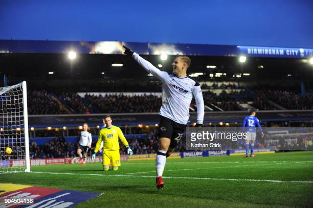 Matej Vydra of Derby County celebrates after scoring the second goal during the Sky Bet Championship match between Birmingham City and Derby County...