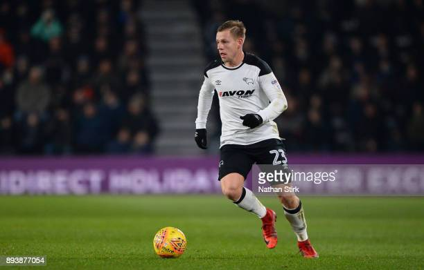 Matej Vydra of Derby County in action during the Sky Bet Championship match between Derby County and Aston Villa at iPro Stadium on December 16 2017...