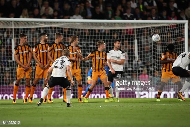Matej Vydra of Derby County scores a goal to make it 10 during the Sky Bet Championship match between Derby County and Hull City at iPro Stadium on...