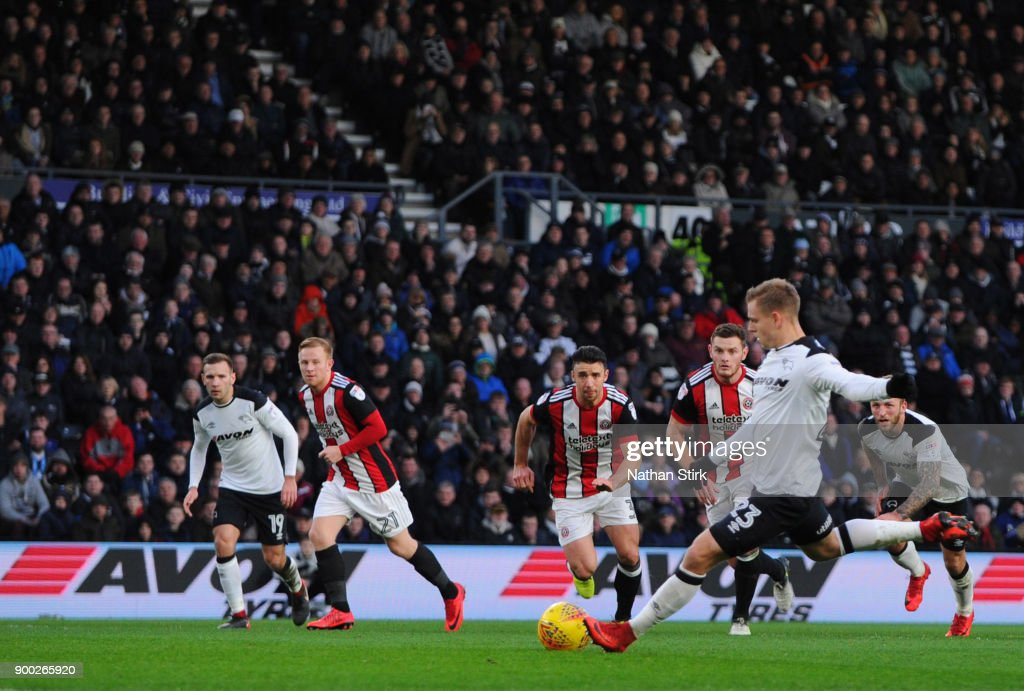 Matej Vydra Of Derby County Scores A Penality During The