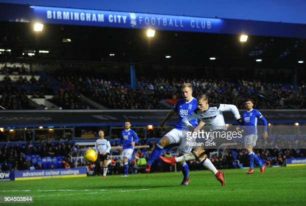Matej Vydra of Derby County scores the second goal during the Sky Bet Championship match between Birmingham City and Derby County at St Andrews on...