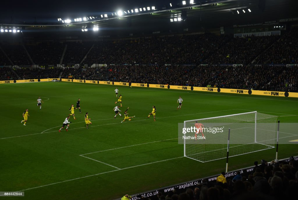 Matej Vydra Of Derby County Shoots At Goal During The Sky