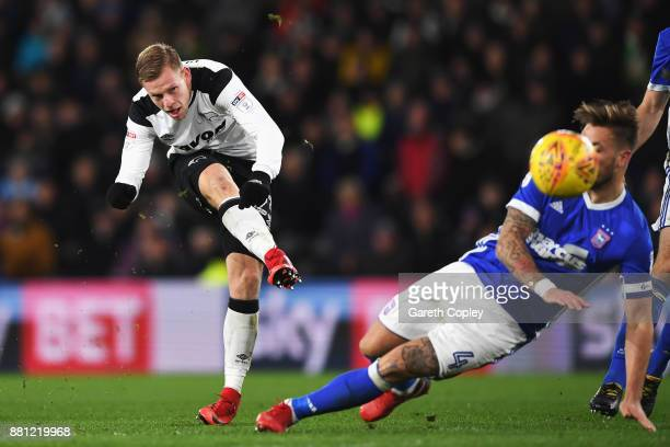 Matej Vydra of Derby County shoots on goal past Luke Chamber of Ipswich Town during the Sky Bet Championship match between Derby County and Ipswich...