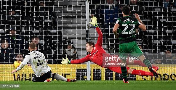 Matej Vydra Of Derby Scores Past QPR Goalkeeper Alex