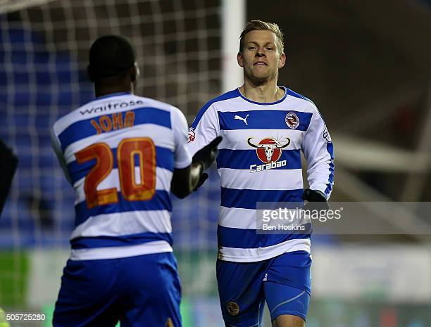 Matej Vydra of Reading celebrates with team mates after scoring his team's third goal of the game during The Emirates FA Cup Second Round match...