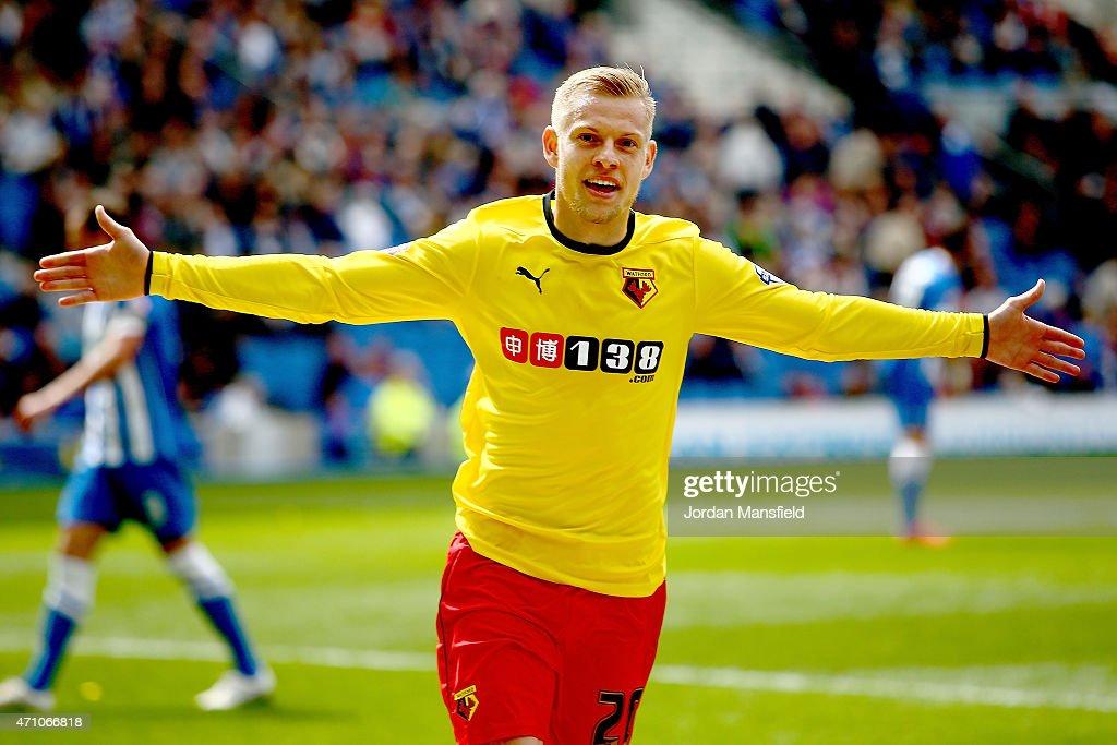 Matej Vydra Of Watford Celebrates After Scoring To Make It