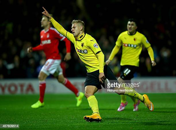 Matej Vydra of Watford celebrates scoring from the penalty spot during the Sky Bet Championship match between Watford and Nottingham Forest at...