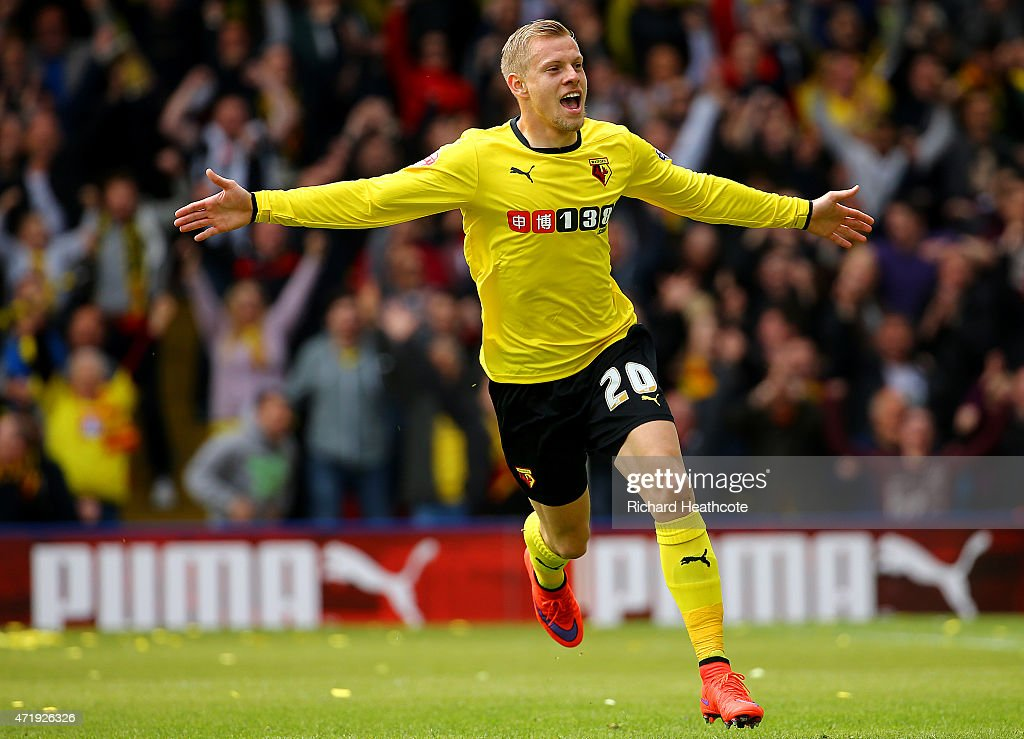 Matej Vydra of Watford celebrates scoring the opening goal during the Sky Bet Championship match between Watford and Sheffield Wednesday at Vicarage Road on May 2, 2015 in Watford, England.