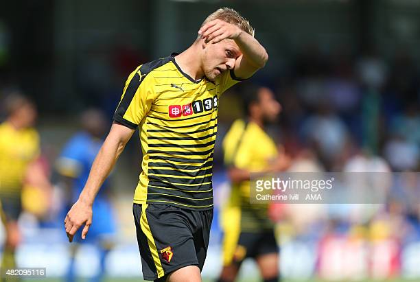 Matej Vydra of Watford during the Pre Season Friendly match between AFC Wimbledon and Watford at The Cherry Red Records Stadium on July 11 2015 in...