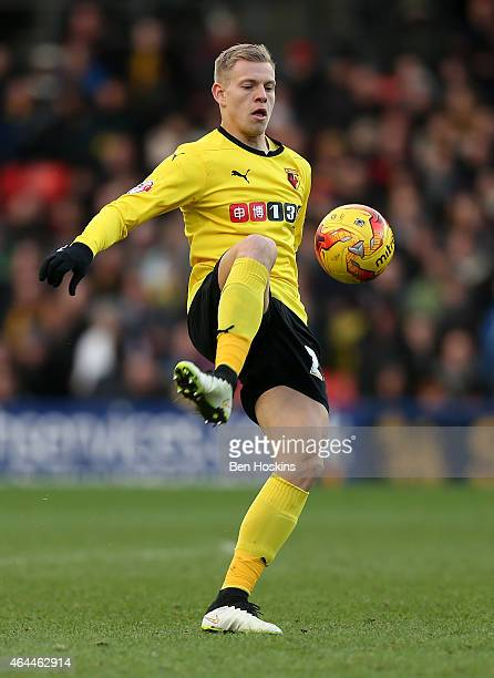Matej Vydra of Watford in action during the Sky Bet Championship match between Watford and Norwich City at Vicarage Road on February 21 2015 in...