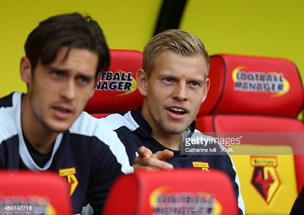 Matej Vydra of Watford on the bench before the Barclays premier League match between Watford and West Bromwich Albion at Vicarage Road on August 15...