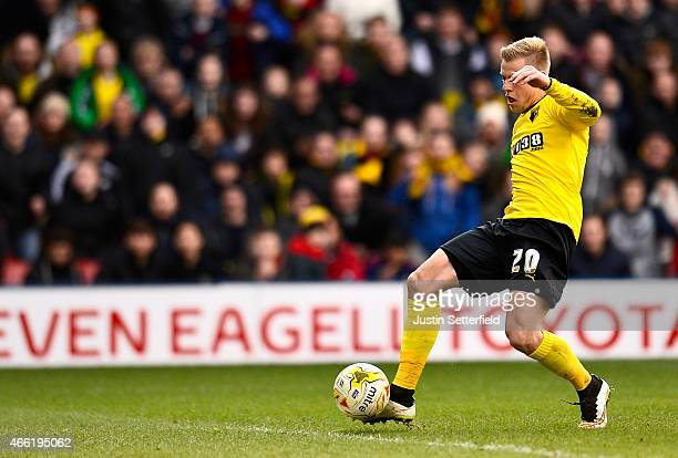 Matej Vydra of Watford scores the 2nd Watford goal during the Sky Bet Championship match between Watford and Reading at Vicarage Road on March 14...