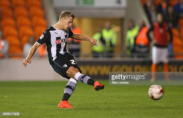 Matej Vydra of Watford scores the opening goal from the penalty spot during the Sky Bet Championship match between Blackpool and Watford at...