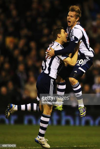 Matej Vydra of West Bromwich Albion celebrates with team mate Zoltan Gera after scoring during the Barclays Premier League match between West...