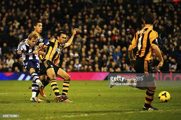 Matej Vydra of West Bromwich Albion scores during the Barclays Premier League match between West Bromwich Albion and Hull City at The Hawthorns on...