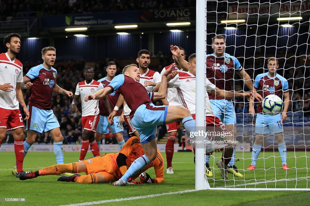 Matej Vyrda of Burnley scores their 1st goal during the UEFA Europa League Qualifying Play-Off Second Leg match between Burnley and Olympiakos at Turf Moor on August 30, 2018 in Burnley, England.