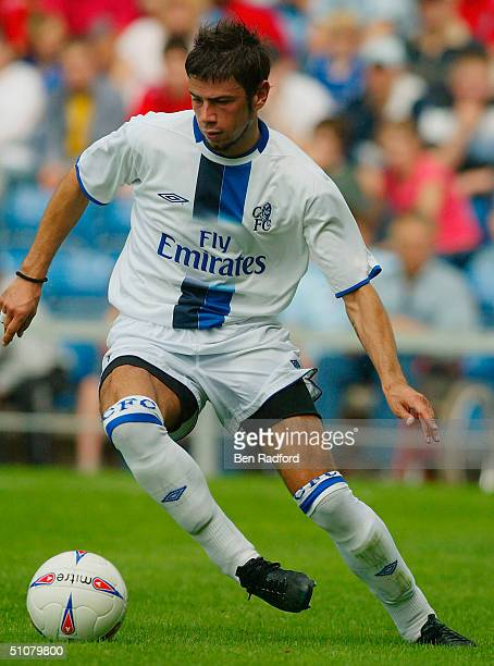 Mateja Kezman of Chelsea in action during the Pre-season Friendly match between Oxford United and Chelsea at the Kassam Stadium on July 17, 2004 in...