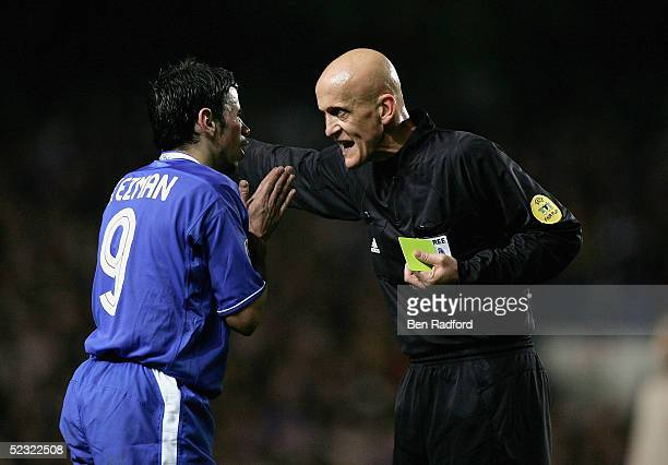 Mateja Kezman of Chelsea is booked by Pierluigi Collina the referee during the UEFA Champions League First Knockout Round Second Leg match between...