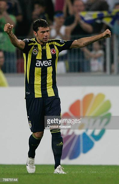 Mateja Kezman of Fenerbahce celebrates after scoring the decision goal during the Sueper Kupa Cup match between Fenerbahce SK and Besiktas JK at the...