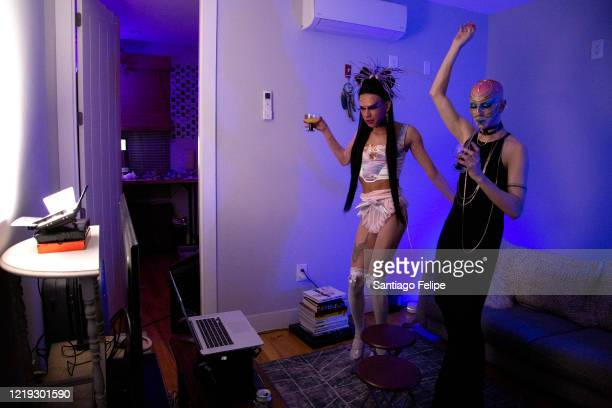 Mateo Alexander Palacio and Ryan Burke host Susanne Bartsch's 'ONTOP' ONLINE at home via ZOOM on April 16 2020 in New York City