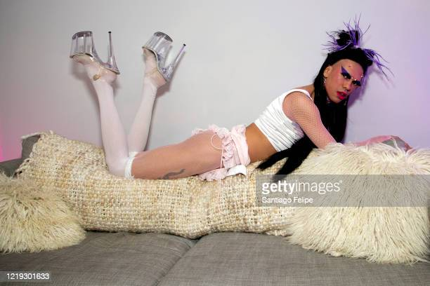 Mateo Alexander Palacio poses for photos while he hosts Susanne Bartsch's 'ONTOP' ONLINE at home via ZOOM on April 16 2020 in New York City
