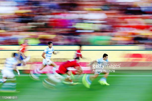 Mateo Carreras of Argentina makes a break against Wales during day one of the 2019 Hamilton Sevens at FMG Stadium on January 26 2019 in Hamilton New...
