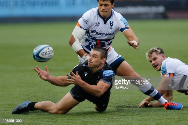 Mateo Carreras of Newcastle Falcons offloads in the tackle during the Gallagher Premiership match between Newcastle Falcons and Bristol at Kingston...