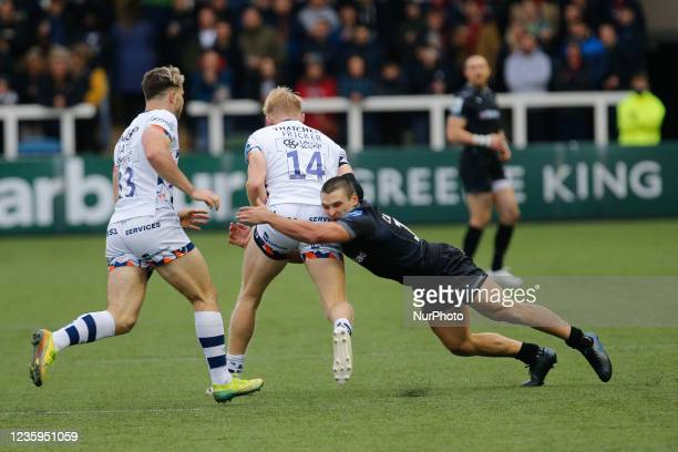 Mateo Carreras of Newcastle Falcons tackles Toby Fricker of Bristol Bears during the Gallagher Premiership match between Newcastle Falcons and...