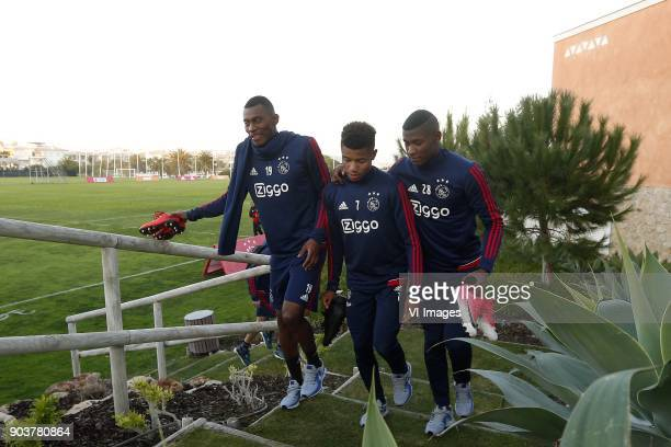 Mateo Cassierra Ajax David Neres of Ajax Luis Manuel Orejuela of Ajax during a training session of Ajax Amsterdam at the Cascada Resort on January 08...