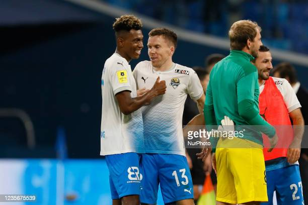 Mateo Cassierra and Sergey Terekhov of Sochi celebrate victory following the Russian Premier League match between FC Zenit Saint Petersburg and FC...