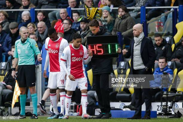 Mateo Cassierra of Ajax Justin Kluivert of Ajax coach Erik ten Hag of Ajax during the Dutch Eredivisie match between Vitesse v Ajax at the GelreDome...