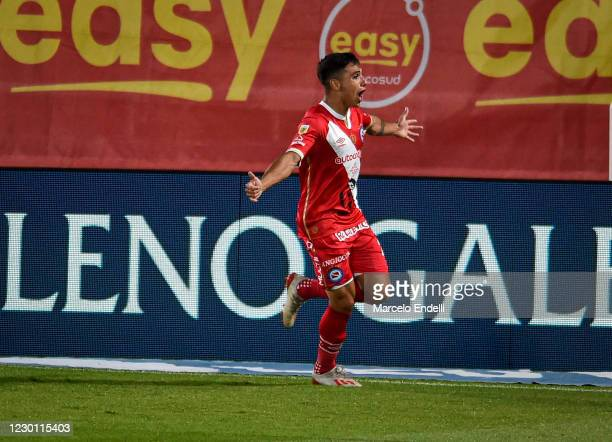 Mateo Coronel of Argentinos Juniors celebrates after scoring the first goal of his team during a match between River Plate and Argentinos Juniors as...