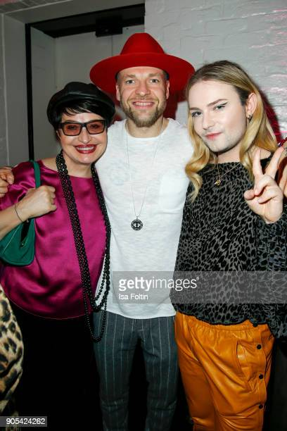 Mateo Jaschik singer of the band Culcha Candela with his mother Teresa Jaschik and musician Jack Strify during the Bunte New Faces Night at Grace...