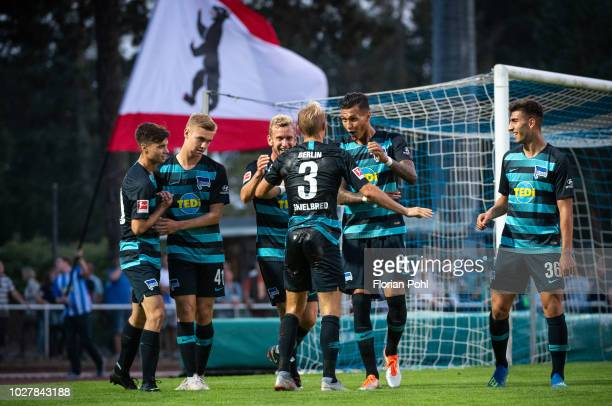 Mateo Kastrati, Julian Albrecht, Fabian Lustenberger, Per Skjelbred, Davie Selke and Muhammed Kiprit of Hertha BSC celebrate after scoring the 0:3...