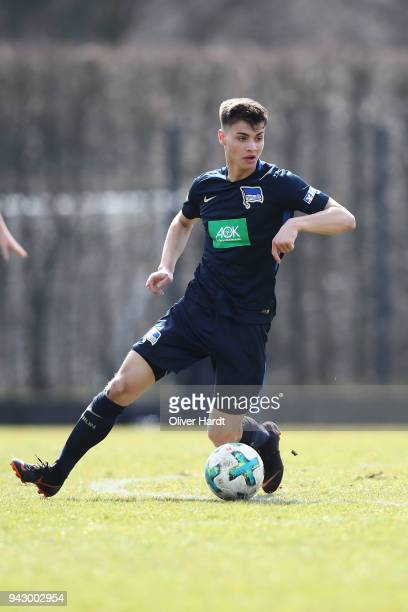 Mateo Kastrati of Berlin in action during the A Juniors Bundesliga match between Hamburger SV and Hertha BSC on April 7 2018 in Hamburg Germany