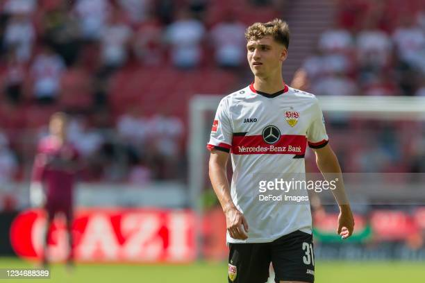 Mateo Klimowicz of VfB Stuttgart Looks on during the Bundesliga match between VfB Stuttgart and SpVgg Greuther Fuerth at Mercedes-Benz Arena on...