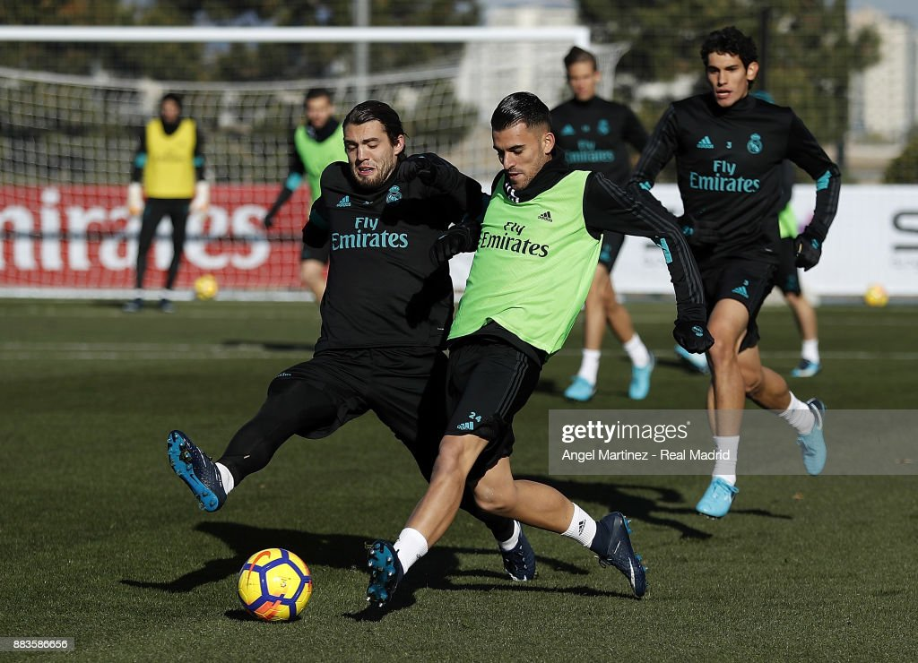 Mateo Kovacic (L) and Dani Ceballos of Real Madrid in action during a training session at Valdebebas training ground on December 1, 2017 in Madrid, Spain.