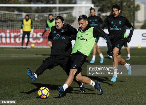 Mateo Kovacic and Dani Ceballos of Real Madrid in action during a training session at Valdebebas training ground on December 1 2017 in Madrid Spain