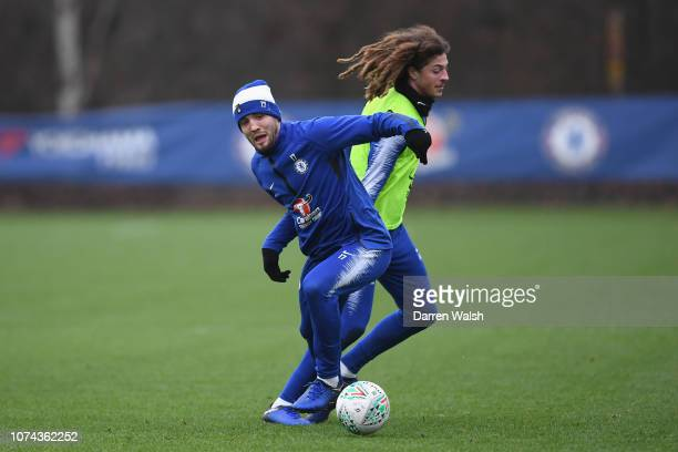 Mateo Kovacic and Ethan Ampadu of Chelsea during a training session at Chelsea Training Ground on December 18 2018 in Cobham United Kingdom