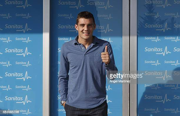 Mateo Kovacic attends a Real Madrid medical before his official unveiling as a new Real Madrid player at Sanitas La Moraleja Hospital on August 19...