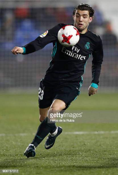 Mateo Kovacic in action during the Spanish Copa del Rey Quarter Final First Leg match between Leganes and Real Madrid at Estadio Municipal de...