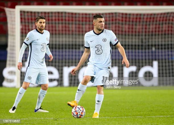 Mateo Kovacic, Jorginho of Chelsea during the UEFA Champions League Group E stage match between Stade Rennais and Chelsea FC at Roazhon Park stadium...