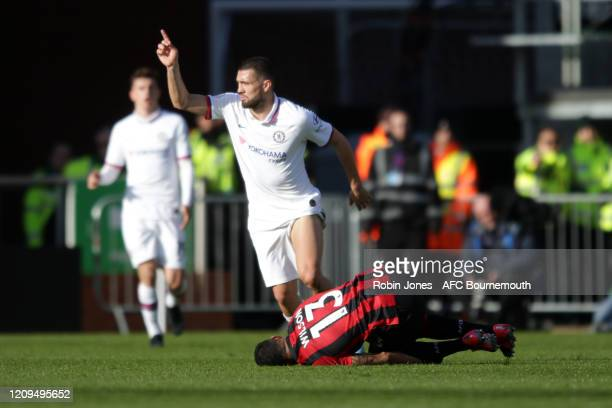 Mateo Kovacic of Chelsea and Callum Wilson of Bournemouth during the Premier League match between AFC Bournemouth and Chelsea FC at Vitality Stadium...