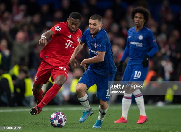 Mateo Kovacic of Chelsea and David Alaba of Bayern Munich during the UEFA Champions League round of 16 first leg match between Chelsea FC and FC...