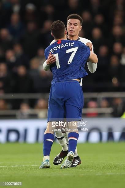 Mateo Kovacic of Chelsea and Dele Alli of Tottenham Hotspur clash during the Premier League match between Tottenham Hotspur and Chelsea FC at...