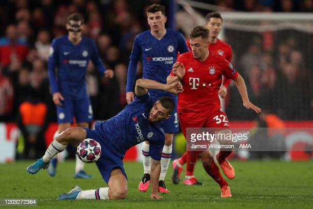 Mateo Kovacic of Chelsea and Joshua Kimmich of Bayern Munich during the UEFA Champions League round of 16 first leg match between Chelsea FC and FC...