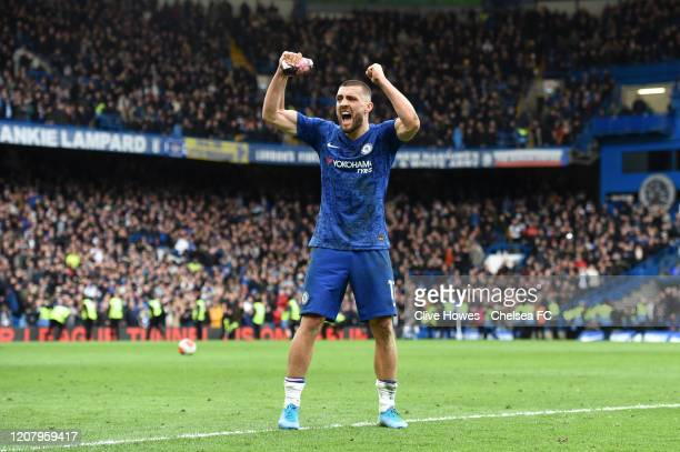 Mateo Kovacic of Chelsea celebrates after his sides victory in the Premier League match between Chelsea FC and Tottenham Hotspur at Stamford Bridge...